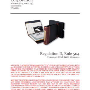 Private Placement Memorandum, Corporations, Rule 504