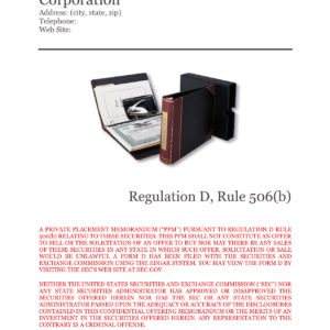 Rule 506b PPM Template, Corporation