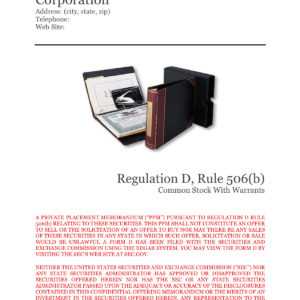 Private Placement Memorandum, Corporations, Rule 506(b)