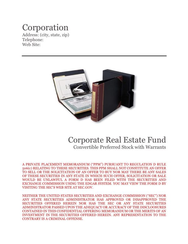 Private Placement Memorandum Corp Real Estate Fund