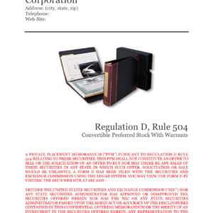 PPM Rule 504 Convertible Preferred Stock With Warrants