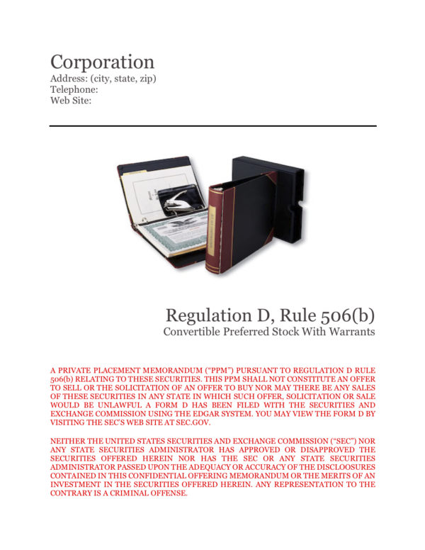 PPM Rule 506(b) convertible preferred stock with warrants